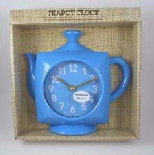 Bright Blue Teapot Kettle Wall Clock Metal Hands Glass Lens