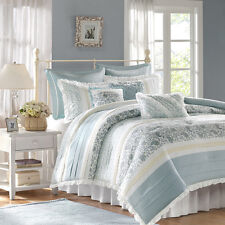 CHIC BLUE LACE 9pc Queen COMFORTER SET : FRENCH COTTAGE SHABBY PAISLEY BEDDING