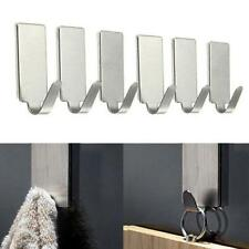 6PCS Stainless Steel Self Adhesive Wall Door Holder Clothes Hat Hook Rack Hanger