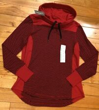 NWT Womens EDDIE BAUER Scarlet Red Navy Stripe Cowl Neck Sweatshirt Size Medium