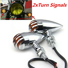2x Chrome Bullet Type Motorcycle Turn Signals Tail Brake Light Old School Bobber