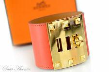 Auth Brand New HERMES Kelly Dog Extreme CDC Bracelet Cappucine Red Gold Size S