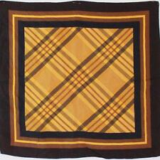"""MOD CHIC 1970S VINTAGE BROWN & BLACK CHECK CHIC SMALL 20"""" SQUARE NECK SCARF"""