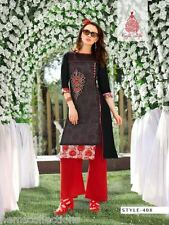XXL Elegant Designer Heavy Kora Silk+Rayon Cotton Embroidered Kurti, Kurta,Tunic