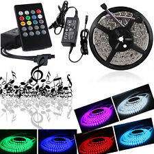 12V Music Control 5050 SMD LED 5M RGB Strip Light Roll Tape & Remote & Adapter