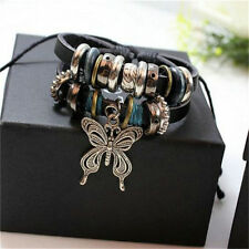 Jewelry Fashion Infinity Leather Charm Bracelet Silver lots Beads Style HS
