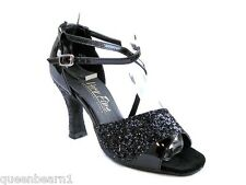 1659 Black Sparkle Swing  Salsa Latin Dance Shoes heel 3 Size 8.5 Very fine