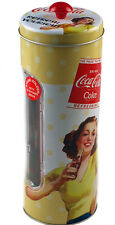 Coca Cola Retro Coke Vintage Lady Yellow Drinking Straw Holder / Dispenser
