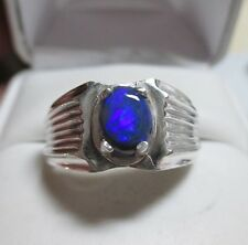 Impressive .92ct Natural Australian Black Opal Mens Sterling Silver Ring