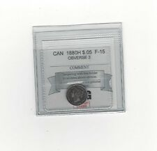 **1880H Obv #3**, Coin Mart Graded Canadian,  5 Cent, **F-15**