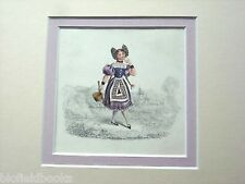 Hand Coloured Engraving of a Swiss? Peasant Girl c1850 Beautiful Mounted Print
