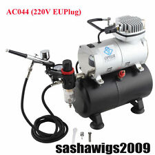 OPHIR 220V EU PLUG Air Compressor Tank & New Air Brush for Nail Art Cake Paint
