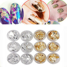 12pcs Nail Art Acrylic Foil Gold Silver Tip Flakes Leaf Tip Paper Chip New