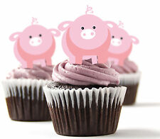 ✿ 24 Edible Rice Paper Cup Cake Toppings, Cake decs - pigs ✿