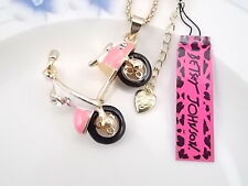 Betsey Johnson fashion jewelry Crystal pink motorcycle pendant necklace # A071B