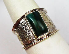 RARE PERUVIAN BLUE OPAL WIDE CIGAR STYLE RING STERLING SILVER UNISEX