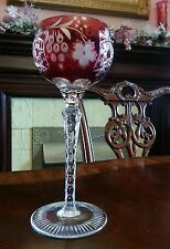 Ajka Marsala Ruby Red wine hock goblet cut to clear, cased