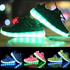 Fashion Kids Unisex LED Light Lace Up Luminous Sportswear Sneaker Casual Shoes