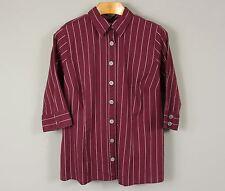 New Avenue Signature Shirt Womens Plus 22/24 Plum Stripe Button Front Top X801H