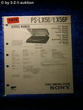 Sony Service Manual PS LX56 / LX56P Turntable System (#1476)