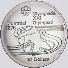 CANADA - 1975 Silver $10 MONTREAL OLYMPIC COIN - Canoeing - LOOK! KM #105