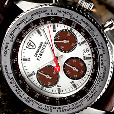 DETOMASO Firenze 42mm Mens Chronograph Watch Leather White & Brown Dial New £129