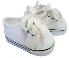 """White Canvas Sneakers Gym Shoes made for 18"""" American Girl Doll Clothes"""