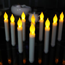 LED Taper Candles With Flameless Ivory Mini Wax Dipped Flickering Amber 12PC