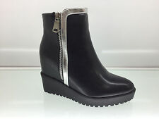 LADIES WOMENS ANKLE HIGH CROCODILE STYLE WEDGE HEEL PLATFORM BOOTS SIZE 7