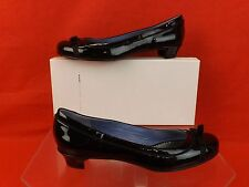 NIB MARC JACOBS BLACK PATENT LEATHER ROUND TOE BOW BALLERINA FLATS 37 ITALY