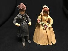 ANTIQUE VINTAGE CORN CLOTHES PIN DOLLS SEWING - HAND-MADE, FOLK ART