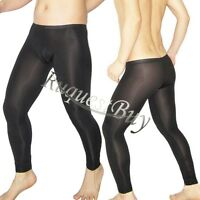 Mens Sexy Mesh Sheer Long Johns Fitness Muscle Tights Pants Underwear Trousers