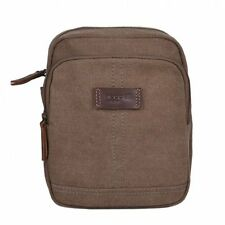 Troop London  Brown Small Canvas Cross Body Bag Unisex TRP0375