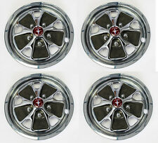 """NEW! 14"""" Style Steel Wheel Hub Caps Ford Mustang 1966-1967 With Red Centers"""
