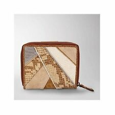 NEW FOSSIL KENYA BEIGE/BROWN SNAKE PATCH WORK LEATHER,SUEDE CLUTCH WALLET
