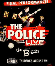 POLICE Final Concert B-52's Orig Concert Poster Madison SQ NYC 2x3Rare 2008 MINT