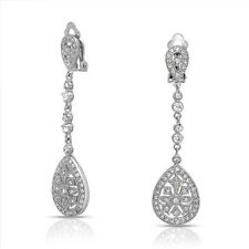 Ada Swarovski Crystal Vintage Art Deco Bridal Formal Clip-on Earrings Wedding