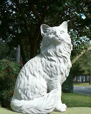 "Sitting Cat Statue 11"" tall Concrete/Cement Pet Memorial Garden Art"