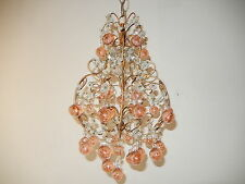 ~c 1920 French Pink Murano Balls Crystal Swags Chandelier RARE Petit Crystals~