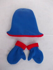 Fleece baby/ toddler hat & mittens set - blue with red trim (#1232)