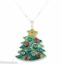 "Zarah Crystal Christmas Tree NECKLACE 18"" Sterling Silver Chain DISCONTINUED Box"