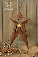 New Primitive Country FolkArt RUSTY STAR CANDLE HOLDER Tea Light Lantern Hanging