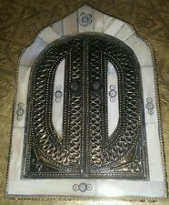 Moroccan hand crafted embroidered brass & camel bone mirror ( design 1 )