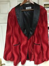 Nine Deep Clothing Red Short Faux Fur Doo Wop Tux Smoking Jacket 5XL