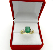 Classic Design 14k Yellow Gold Octagon Emerald & Diamonds Cocktail Ring sz 7.25