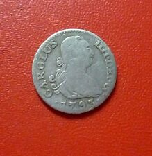 SPAIN SILVER COIN ½ Real, KM438.1  F+  1793MF (Madrid) Charles IV