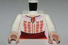 LeGo White Torso Blouse w Red + Pink Embroidery Pattern
