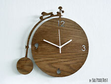 Penny Farthing Vintage Bicycle White - Wooden Wall Clock