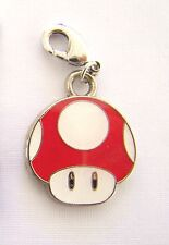 1UP MUSHROOM Red Mario Clip On Charm FOR Bracelet key ring zipper necklace