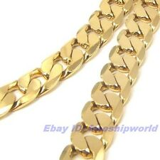 """32""""12mm134g MEN REAL LONG 18K YELLOW GOLD GP CURB NECKLACE SOLID FILL GEP CHAIN"""
